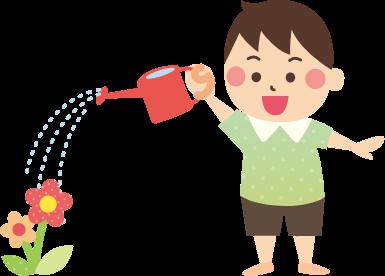 お花に水やりをする子どものイラスト