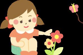 お花を眺める少女のイラスト